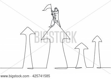 Single One Line Drawing Of Young Arabian Male Entrepreneur Planting Goal Flag At Top Of Arrow Symbol