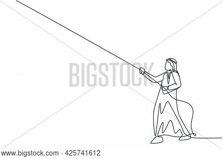 Single Continuous Line Drawing Of Young Arab Businessman Pulling Rope To Reach Business Target. Smar