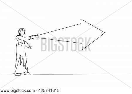 Continuous One Line Drawing Young Arab Male Manager Arrow Light The Way Using Flashlight. Success Bu