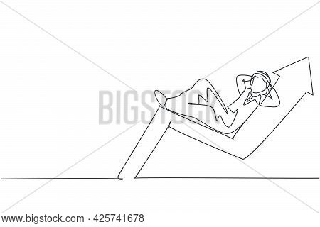 Single One Line Drawing Of Young Attractive Arabic Male Investor Sleeping Relax At Up Arrow Symbol.