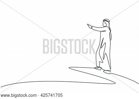 Single Continuous Line Drawing Young Arabic Businessman Analyzing Business Opportunity. Smart Vision