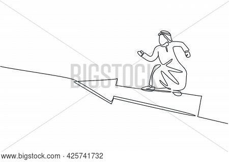 Single One Line Drawing Of Young Arabian Male Entrepreneur Flying With Forward Arrow Symbol. Fast Bu