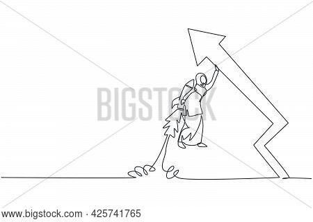 Single One Line Drawing Young Arabian Businesswoman Flying High Using Jetpack To Rise Sales Arrow Gr