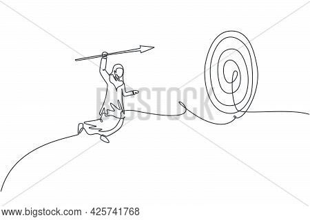 Single Continuous Line Drawing Young Professional Female Arab Entrepreneur Jumping High While Hit Th