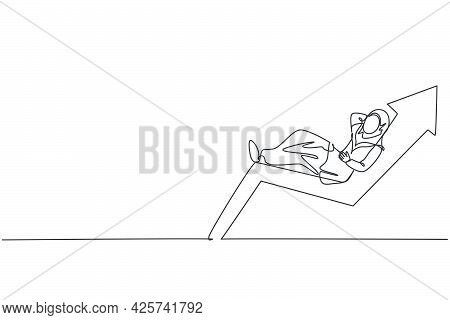 Continuous One Line Drawing Of Young Arabic Female Investor Sleep Relax On Increase Graph. Success B
