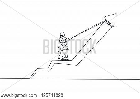 Single Continuous Line Drawing Young Professional Female Arab Entrepreneur Pulling Increase Growth A