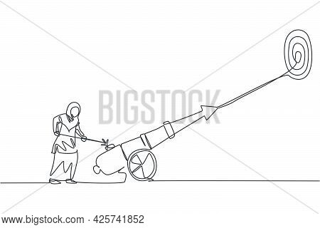 Single Continuous Line Drawing Young Professional Female Arab Entrepreneur Fire The Cannonball To Hi