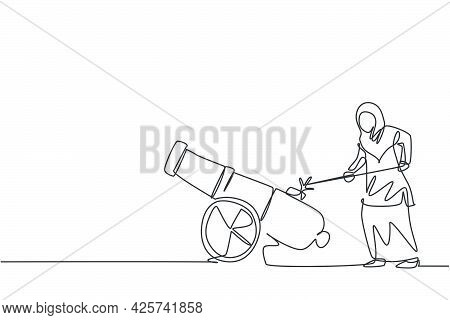 Continuous One Line Drawing Of Young Arabic Female Worker Fire Cannonball To Focus On Work, Metaphor