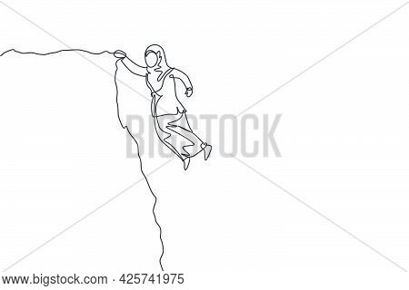 Single Continuous Line Drawing Young Professional Female Arab Entrepreneur Struggle Hanging On Edge