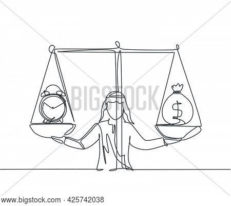 Single One Line Drawing Of Young Arabian Business Man Weight Money Bag And Clock With Scale. Minimal