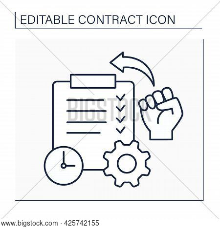 Ratification Line Icon. Action Of Signing Or Giving Formal Consent To Treaty, Contract, Or Agreement