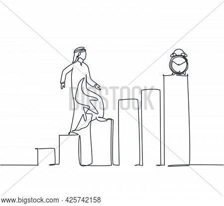 Single One Line Drawing Of Young Arabian Business Man Walking On The Graph Bar To Reach Alarm Clock.