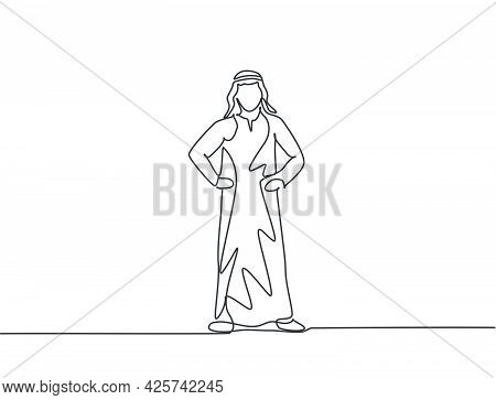 Single One Line Drawing Of Young Arabian Business Man Standing On The Street Thinking Of Business. M