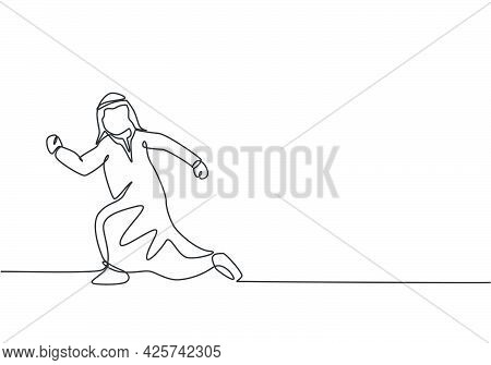 Single One Line Drawing Of Young Arabian Business Man Running Chased By Work Deadline. Business Time