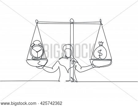 Single One Line Drawing Of Young Arabian Business Woman Weight Money Bag And Analog Clock With Scale