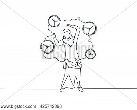 Single One Line Drawing Of Stressful Young Arabian Business Woman Surrounded By Flying Analog Clocks