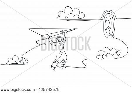 Single One Line Drawing Young Arabian Business Man Focus Hanging On Flying Paper Plane To Hit Target