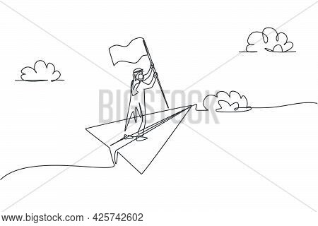 Single Continuous Line Drawing Of Young Arabian Business Man Holding Winning Flag While Flying With