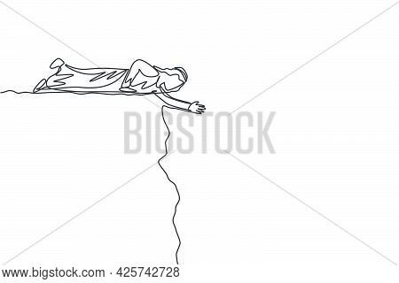 Continuous One Line Drawing Of Young Arab Male Worker Lay Down On Cliff To Help His Colleague. Succe