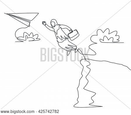 Single Continuous Line Drawing Young Arab Business Woman Jumping To Flying Paper Plane From Top Of C