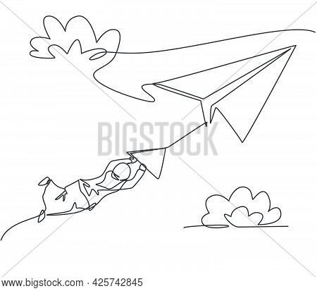 Single One Line Drawing Of Young Arabian Business Woman Hanging On Paper Airplane. Business Challeng