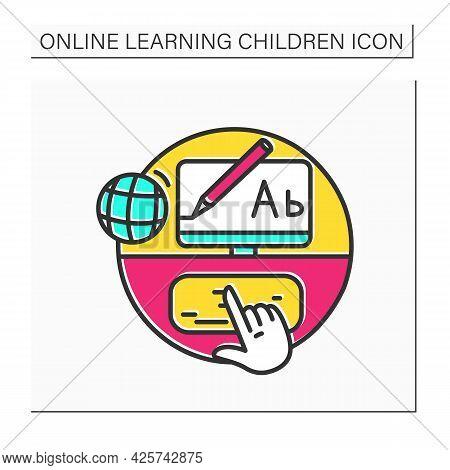 Online Typing Color Icon.hand Press Button In Desktop Keyboard. Browsing, Web Communication, Freelan