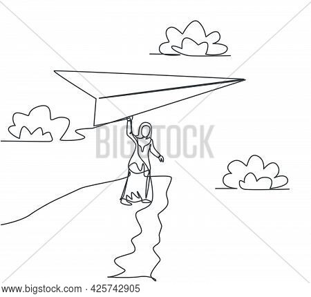 Single One Line Drawing Of Young Arab Business Woman Holding Giant Paper Plane On Cliff. Business Ch