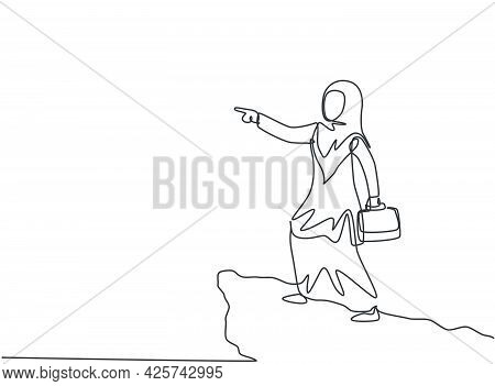 Continuous One Line Drawing Young Arab Female Worker Pointing Finger From Top Of The Cliff. Success