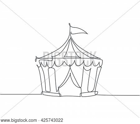 Single One Line Drawing Of Circus Tent Shaped Like A Pentagon With Stripes And A Flag At The Top. Wh