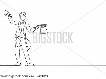 Single Continuous Line Drawing The Magician Puts On A Show By Getting A Bird Out Of His Magic Hat. A