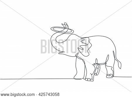 Single One Line Drawing Of An Elephant Performs A Circus Show By Turning A Circle Using Its Trunk. C