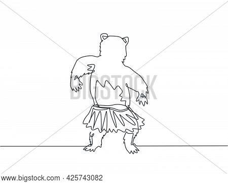 Continuous One Line Drawing A Bear Dances Cutely While His Back To The Audience. Circus Troupe Trave