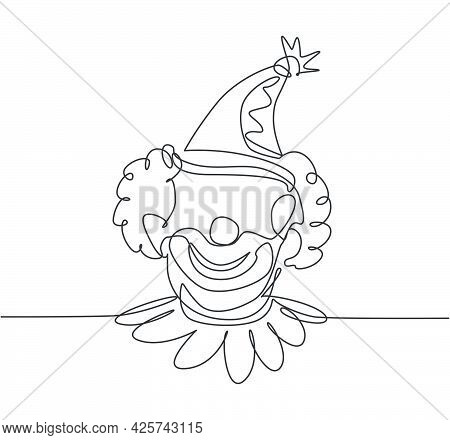 Single One Line Drawing Of The Face Of A Male Clown Wearing A Circus Hat With A Cheerful Smile That