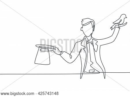 Single Continuous Line Drawing The Magician Puts On A Show By Getting A Bird Out Of His Magic Hat. V