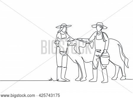 Continuous One Line Drawing Male Farmer Rubbing The Cow While Carrying A Bucket Of Water. Female Far