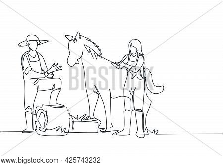 Single One Line Drawing Of Male Farmer Stomped One Of Its Feet Into The Curled Hay As It Was About T