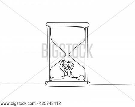 Single Continuous Line Drawing Young Business Woman Buried Inside Sandglass And Asking For Help. Min