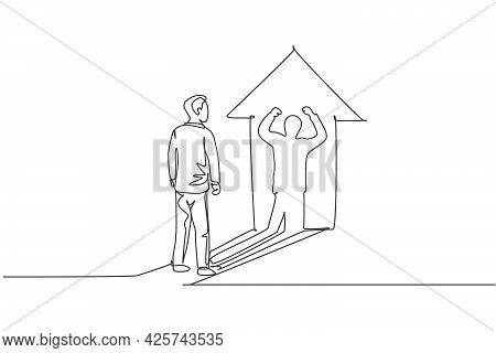 Single Continuous Line Drawing Of Young Worker Pose Standing And Facing Lifting Hands Up Shadow. Pro