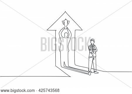 Single Continuous Line Drawing Of Young Business Man Standing With Lifting Trophy Up Shadow. Profess
