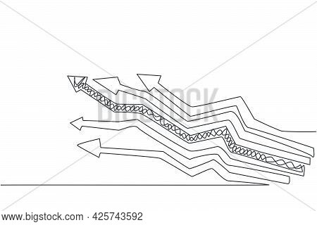 Continuous One Line Drawing Of Various Way Branch Up Arrow Signs. Paths Of Business Strategy To Incr
