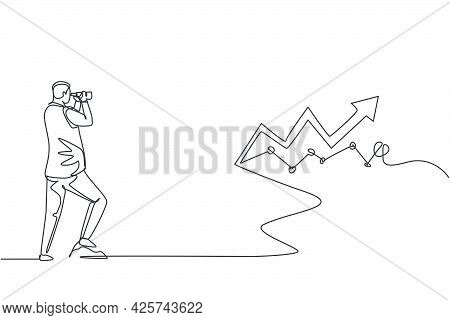 Single Continuous Line Drawing Young Entrepreneur Looking For Sales Graph Increase Target. Professio