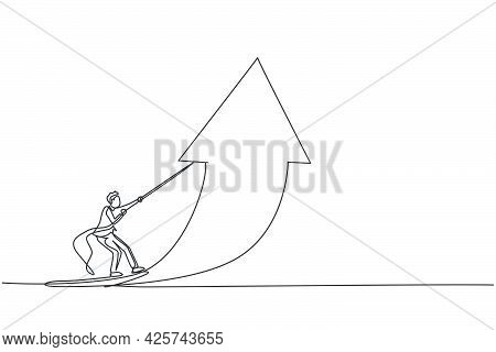 Single Continuous Line Drawing Of Young Business Man Lifting Arrow Up To Increase Business Growth. P