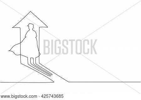 Single One Line Drawing Of Young Smart Business Man Shadow With Up Arrow Light. Business Financial M