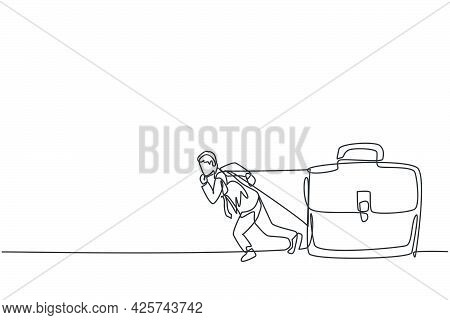 Single Continuous Line Drawing Of Young Businessman Pulling Giant Briefcase Metaphor. Professional B