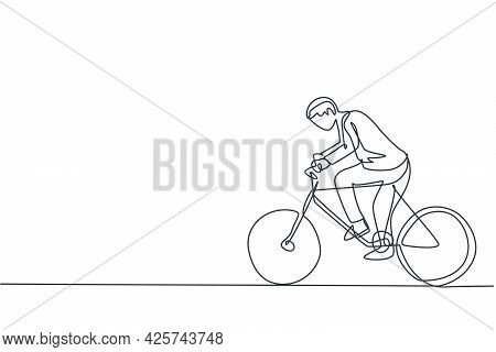 Single Continuous Line Drawing Young Male Worker Riding Bicycle To The Office. Superb Professional B