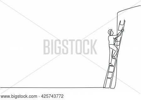 Single One Line Drawing Of Young Smart Entrepreneur Climbing Up The Wall With Ladder. Business Obsta