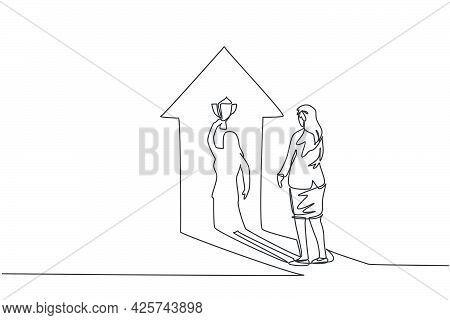 Single Continuous Line Drawing Of Young Beauty Businesswoman Facing Her Shadow Lifting Up The Trophy