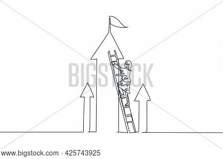 Continuous One Line Drawing Of Young Female Entrepreneur Climb The Ladder Up To Reach Top Arrow. Suc