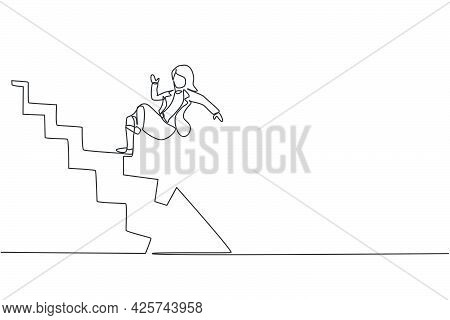 Single Continuous Line Drawing Of Young Beauty Businesswoman Slip And Falling Down From Upstairs. Ba