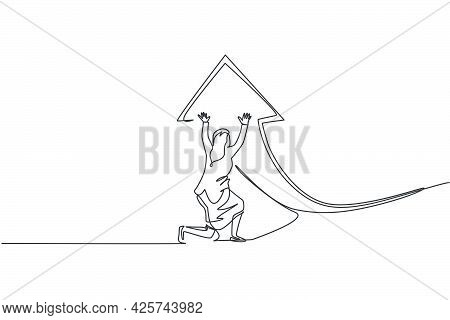 Single One Line Drawing Of Young Smart Businesswoman Deflect Arrow Sign Symbol To Up Direction. Busi